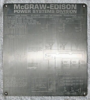 McGraw-Edison Transformer Nameplate, Great condition, Collectible and Rare.