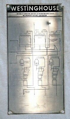 WESTINGHOUSE Transformer Nameplate, WIRING DIAGRAM, Super collectable.