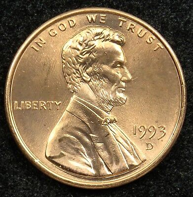 1993 D Uncirculated Lincoln Memorial Cent Penny BU (B05)