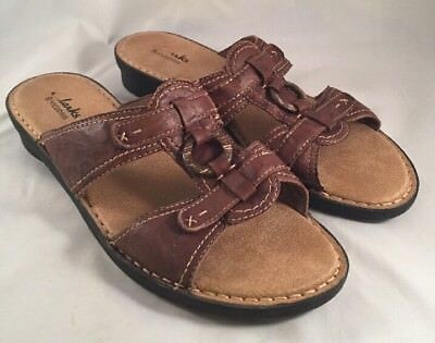 e188ad23503 CLARKS BENDABLES COMFORT Sandals Brown Leather 36902 Womens Size 6.5 ...