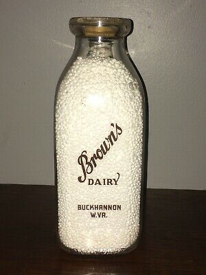 Milk Bottle & Cap  BROWN'S DAIRY  Buckhannon, WV  RARE Vintage Advertising