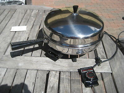 "VINTAGE FARBERWARE FSS300 12"" ELECTRIC SKILLET FRYING PAN w HIGH DOME LID"