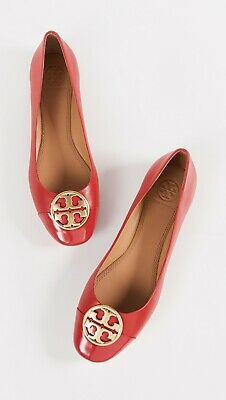 34f4e845a NIB AUTHENTIC TORY Burch Lobster Red Chelsea Ballet Flats Shoes Gold ...