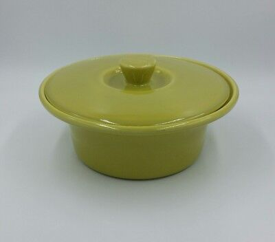 Vintage Redwing Art Pottery 1 Quart Covered Casserole Dish Bowl Chartreuse