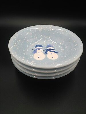 *Set of 4* HOME Winter Frost Snowman Blue White Cereal Soup BOWLS 8.25""