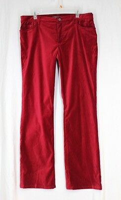 RALPH LAUREN Velour Pants 14 XL Red Cotton Stretch Pockets Straight Leg