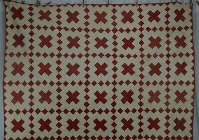 antique quilt turkey red white hand stitched 76x89 early original 1850 vg