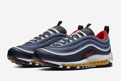 2018 Nike Air Max 97 SZ 11.5 Midnight Navy Habanero Red Black White 921826-403