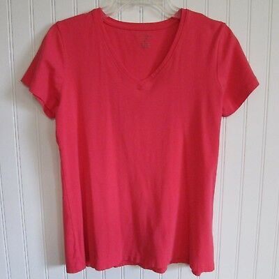 Laura Ashley Active Women's T-Shirt Size L Pink Coral Stretch Tee V-Neck Sports
