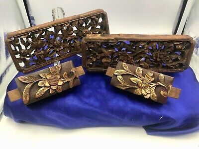 Antique Chinese Dynasty Relief Wood Carving Gilt Architectural Figures LOT(4)