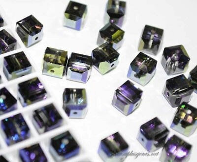 6mm #5601 Swarovski Crystal Cube Square Beads Special Coating assorted colors
