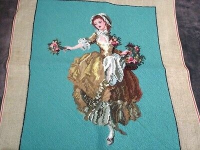 """Finished Needlepoint Flower Girl 20 x 23"""" Canvas Piece Upholster or Frame"""