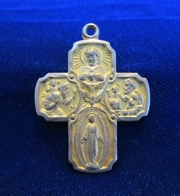 Four Way Medal Cross Holy Spirit Center I Am A Catholic Goldtone Worn