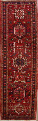 One-of-a-Kind Geometric Tribal 11' Runner Gharajeh Persian Hand-Knotted Rug 4x11