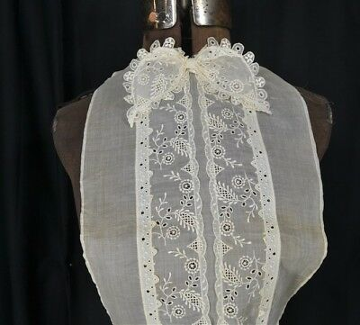 antique blouse dicky net chiffon embroidered lace  Edwardian one size bust vg