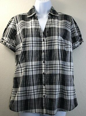 cce5c23b CATO BLACK PLAID Women's Short Sleeve Shirt Top Blouse Size M NWT ...