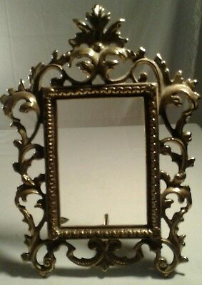 """Vintage Ornate Gold Gilt Brass Rococo 4""""X 6"""" Photo Picture Frame Easel"""