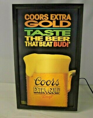 Coors Extra Gold >> Vintage Coors Extra Gold Lighted Beer Sign 26x16 42 70