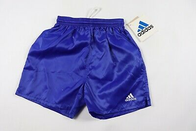 Vtg 90s New Adidas Youth Large Genoa Spell Out Nylon Soccer Shorts Royal Blue