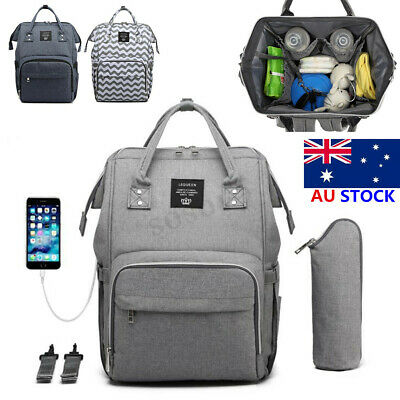 LEQUEEN USB Port Backpack Baby Diaper Rucksack Mummy Maternity Nappy Bag