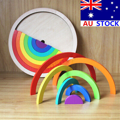 Wooden Rainbow Blocks Stacking Building Construction Child Kids Toy