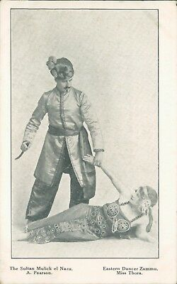 Circus Postcard Eastern Dancer Zammu & Sultan Mulick Bostocks Circus unposted