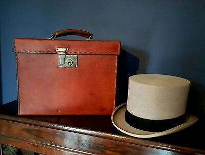 Antique Leather Travel Box Case with Top Hat By Harrods of London.