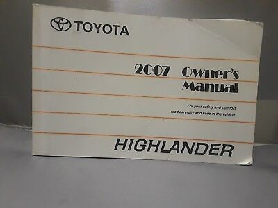 2007 toyota highlander owners manual