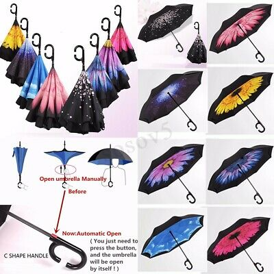 Automatic Open Double Layer Upside Down Inverted Umbrella Reverse Windproof
