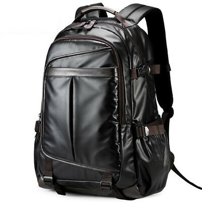 Black Men Leather Backpack Large Laptop Breathable School Shoulder Travel
