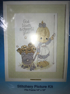 God Loveth A Cheerful Giver Precious Moments Stitchery Embroidery Kit 14x18 1075