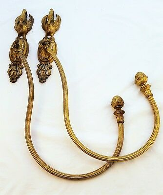 Pair of Antique Ormolu French Empire Style  Curtain Tiebacks -  Figural Swans