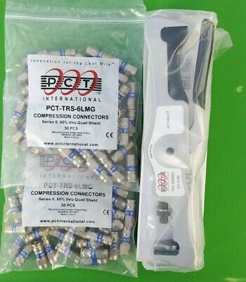 PCT-RH-CT F Connector Compression Tool RG6 & RG59 w/ 2 BAGS of Fittings