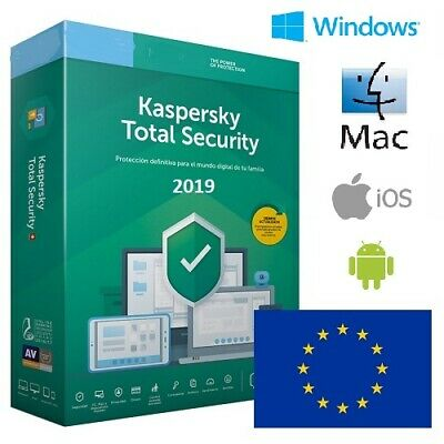 Kaspersky Total Security 2019 1 año (1, 2, 3, 4, 5, 10) / dispositivos oficial
