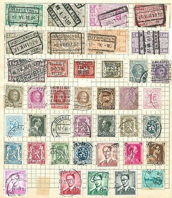 OLD SECTION OF BELGIAN STAMPS ON OLD ALBUM PAGE inc OVERPRINTS    UNCHECKED
