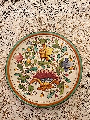Vintage Italian Clay Incised Floral Decorative Plate