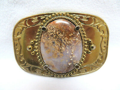 Vintage Gold Tone Western Style Belt Buckle w/ Large Oval Genuine Agate Gemstone