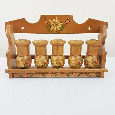 Retro Vintage Wooden Spice Rack with 5 Spice Shakers Hand Painted