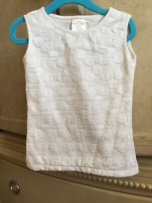 ❤️Persnickety Girls Sz 3-4T Lace Front Sleeveless Dressy Shirt Top Ivory White