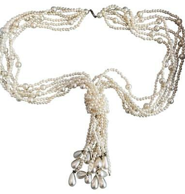 """Vintage Ivory Faux Pearl Multi Strand Necklace W. Knot & Pearl Tassels 26"""" Long"""