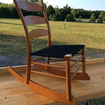 Danish Bandelier  Pegged Rocking Chair Hans Wagner Era Golden Tiger Oak Petina