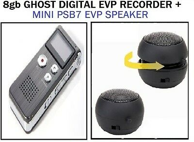 8Gb Evp Spirit Hunting Recorder Ghost + Psb7 Portable Paranormal Mini Speakers