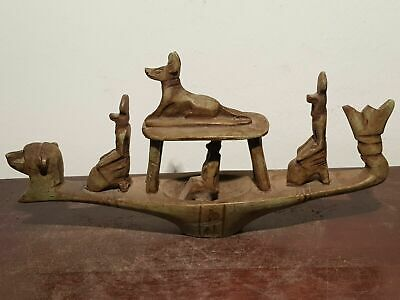 Rare Antique Ancient Egyptian Universe Boat Gods Horus Anubis sekhmet2480-2320BC