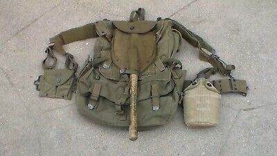 Old US Army WW2 era Canvas M-1944 / M-1945 Combat Backpack & Belt & More / Used