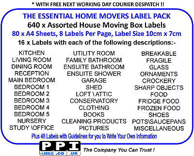 Moving Home House Box Labels Stickers x 640 - 37 Different Descriptions (HM-08)