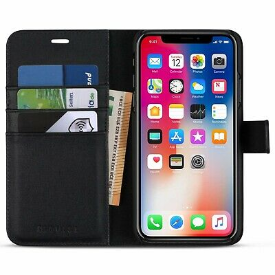 KAVASA IPHONE XR/10R Black Leather Wallet Case 2 in 1 flip folio book 6.1 inch
