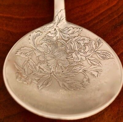 - Superb Shiebler Sterling Silver Soup Spoon: Aesthetic Period, Engraved Floral