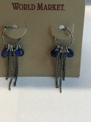 81858c9e6cdd8 BLUE SAPPHIRE EARRINGS pierced, Drop/Dangle post Sterling silver ...
