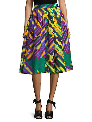 63dc78b067 Tracy Reese Linen/Silk Pleated Print A line Midi Skirt, Purple multi, size