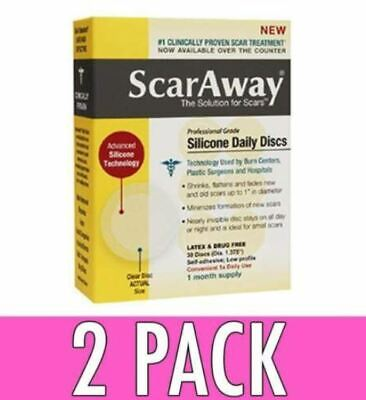 ScarAway Scar Care Professional Grade Silicone Daily Discs Clear, 30 ea, 2 Pack
